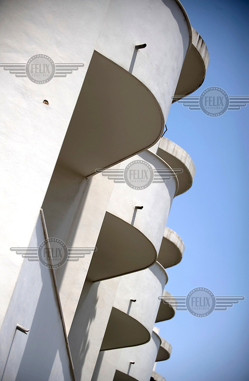 A detail of the Bauhaus style Recanati House at 35 Menachem Begin Street built by Shlomo Liaskovski and Jacob Orenste in 1935. Tel Aviv is known as the White City in reference to its collection of 4,000 Bauhaus style buildings, the largest number in any city in the world. In 2003 the Bauhaus neighbourhoods of Tel Aviv were placed on the UNESCO World Heritage List. .