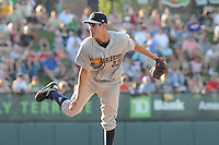 Starting pitcher Scottie Allen (32) of the Charleston RiverDogs, a New York Yankees affiliate, in a game against the Greenville Drive on June 2, 2012, at Fluor Field at the West End in Greenville, South Carolina. Greenville won, 10-4. (Tom Priddy/Four Seam Images).