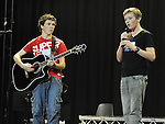 Christopher O'Hagan and Ciaran Lee De La Salle college Dundalk performing in the School Stars auditions in the TLT Drogheda. Photo: Colin Bell/pressphotos.ie