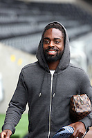 Wednesday, 23 April 2014<br /> Pictured: Nathan Dyer arriving.<br /> Re: Swansea City FC are holding an open training session for their supporters at the Liberty Stadium, south Wales,