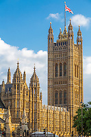 UK, England, London.  Victoria Tower, Palace of Westminster.