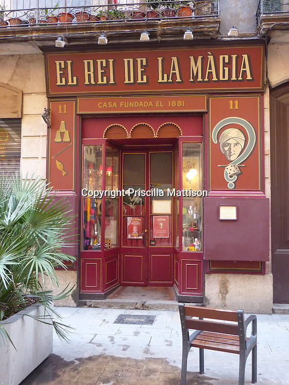 A magic store beckons on a wintry Barcelona day.