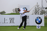 Thomas Bjorn (DEN) tees off the 2nd tee during Saturay's Round 3 of the 2014 BMW Masters held at Lake Malaren, Shanghai, China. 1st November 2014.<br /> Picture: Eoin Clarke www.golffile.ie