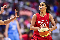 Washington, DC - July 13, 2018: Washington Mystics guard Kristi Toliver (20) handles the ball during game between the Washington Mystics and Chicago Sky at the Capital One Arena in Washington, DC. The Mystics defeat the Sky 88-72 (Photo by Phil Peters/Media Images International)