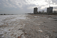The iced over beach of Lake Michigan facing the South Shore neighborhood is seen in Chicago, Illinois on January 2, 2008.  Michelle Obama, wife of U.S. President Elect Barack Obama, was raised in a modest bungalow in the South Shore neighborhood on the South Side of Chicago.