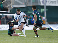 17th November 2019; The Sportsground, Galway, Connacht, Ireland; European Rugby Champions Cup, Connacht versus Montpellier; Anthony Bouthier (Montpellier) gets away from Tom Daly and Colby Fainga'a of Connacht - Editorial Use