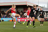 Leah Williamson of Arsenal goes close to a goal during Arsenal Women vs Bristol City Women, Barclays FA Women's Super League Football at Meadow Park on 1st December 2019