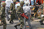 10th Anniversary File Photo: Rescue workers at the spot where a train crashed into a building in Amagasaki, Japan on April 25, 2005. 107 people were killed in the accident, 562 were injured.<br /> <br /> The accident was Japan's most serious since a train accident in 1963 killed 162 people. (Photo by Duits.co/AFLO)