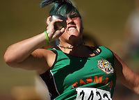 Tasman's Meghan Kirk competes in the women's shot put during day two of the National athletics championships at Newtown Park, Wellington, New Zealand on Saturday, 28 March 2009. Photo: Dave Lintott / lintottphoto.co.nz