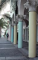 Santa Monica CA: Renaissance Bldg.  Corinthian Columns on sidewalk.