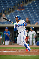 Dunedin Blue Jays third baseman Vladimir Guerrero Jr. (27) at bat during a Florida State League game against the Clearwater Threshers on April 4, 2019 at Spectrum Field in Clearwater, Florida.  Dunedin defeated Clearwater 11-1.  (Mike Janes/Four Seam Images)