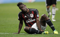 Calcio, Serie A: Milan vs Juventus. Milano, stadio San Siro, 9 aprile 2016. <br /> Milan's Mario Balotelli sits on the pitch during the Italian Serie A football match between AC Milan and Juventus at Milan's San Siro stadium, 9 April 2016.<br /> UPDATE IMAGES PRESS/Isabella Bonotto