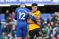 Young England players Ruben Loftus-Cheek of Chelsea and Morgan Gibbs-White of Wolverhampton Wanderers embrace at the final whistle during Chelsea vs Wolverhampton Wanderers, Premier League Football at Stamford Bridge on 10th March 2019