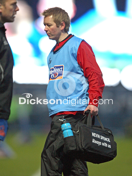 30 March 2013;  Nevin Spence remembered on physio Gareth Robinson's bag during the Pro 12 League clash against Leinster at the RDS in Dublin. Photo by  John Dickson - DICKSONDIGITAL