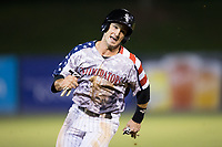 Grant Massey (28) of the Kannapolis Intimidators hustles towards third base against the Delmarva Shorebirds at Kannapolis Intimidators Stadium on June 30, 2017 in Kannapolis, North Carolina.  The Shorebirds defeated the Intimidators 6-4.  (Brian Westerholt/Four Seam Images)