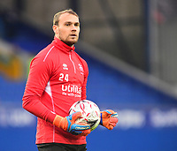 Lincoln City's Sam Slocombe during the pre-match warm-up<br /> <br /> Photographer Andrew Vaughan/CameraSport<br /> <br /> Emirates FA Cup Third Round - Everton v Lincoln City - Saturday 5th January 2019 - Goodison Park - Liverpool<br />  <br /> World Copyright &copy; 2019 CameraSport. All rights reserved. 43 Linden Ave. Countesthorpe. Leicester. England. LE8 5PG - Tel: +44 (0) 116 277 4147 - admin@camerasport.com - www.camerasport.com
