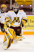 (Stoa) Jeff Frazee (University of Minnesota - Burnsville, MN) warms up. The University of Minnesota Golden Gophers defeated the Michigan State University Spartans 5-4 on Friday, November 24, 2006 at Mariucci Arena in Minneapolis, Minnesota, as part of the College Hockey Showcase.