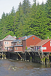Historic stilt houses on Creek St in Ketchikan, Alaska, the salmon capitol of Alaska
