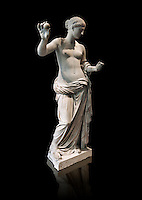 The Venus of Arles (  Greek Goddess Aphrodite) is a 1.94-metre-high (6.4 ft) marble sculpture of Venus probably a copy of the Aphrodite of Thespiae by 4th century BC Greek Athenian sculpture Praxiteles . Louvre Museum, Paris. <br /> The style of the Venus of Arles, like the Venus de Milo, is not a fully nude figure both having draped clothes from the waist down. The first known example of a totally nude Venus is the 4th century BC  Aphrodite of Cnidus by.Praxiteles  The Venus of Arles was probably an earlier statue by Praxiteles known as the Aphrodite of Thespiae . <br /> The venus of Arles was found in 1651 by workmen digging a well in Arles. In 1681 it was given to Louis XIV to decorate the Galerie des Glaces of Versailles. The statue was moved to the Musée du Louvre after the French Revolution.