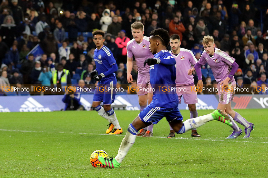Chelsea's Mukhtar Ali's second half penalty during Chelsea Youth vs Reading Youth, FA Youth Cup Football at Stamford Bridge