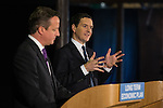 © Joel Goodman - 07973 332324 .  08/01/2015 . Manchester , UK . The British Prime Minister , David Cameron , and the Chancellor of the Exchequer , George Osborne , deliver speeches on the economy and on the economic development and devolution of powers to the North West of England at the Old Granada Studios , Quay Street , Manchester . Photo credit : Joel Goodman