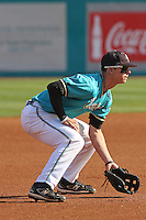 Scott Woodward #10 of the Coastal Carolina University Chanticleers  playing third base in a game against the University of Michigan Wolverines at the Carvelle Resort Classic Tournament held at Watson Stadium at Vrooman Field in Conway,, SC on March 13, 2010. Photo by Robert Gurganus/Four Seam Images