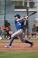 Travis Jones (24) of the Kansas City Royals follows through on his swing during an Instructional League game against the San Francisco Giants at the Giants Training Complex on October 17, 2017 in Scottsdale, Arizona. (Zachary Lucy/Four Seam Images)
