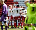 Ben Whiteman of Sheffield Utd  is mobbed after equalising during the PDL U21 Final at Bramall Lane Sheffield. Photo credit should read: Simon Bellis/Sportimage