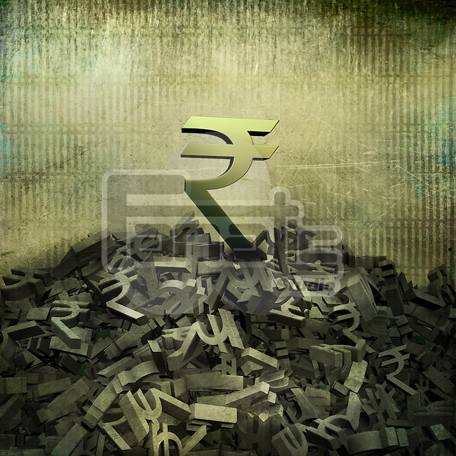Big Rupee sign on top of small currency symbols