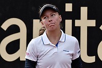 BOGOTA -COLOMBIA. 14-04-2017. Johanna Larsson (SWE) reacciona durante juego de semifinal contra Francesca Schiavone (ITA) del Claro Open Colsanitas WTA 2017 jugado en el Club Los Lagartos en Bogota. /  Johanna Larsson (SWE) reacts during match against Francesca Schiavone (ITA) for the semifinal of Claro Open Colsanitas WTA 2017 played at Club Los Lagartos in Bogota city. Photo: VizzorImage/ Gabriel Aponte / Staff