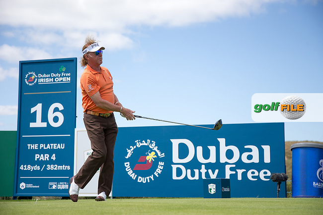 Miguel Angel Jimenez (ESP) on the 16th during the 3rd round at the Dubai Duty Free Irish Open hosted by the Rory Foundation, at Portstewart Golf Club, Portstewart, Co. Derry, Northern Ireland. 08/07/2017<br /> Picture: Golffile | Fran Caffrey<br /> <br /> <br /> All photo usage must carry mandatory copyright credit (&copy; Golffile | Fran Caffrey)