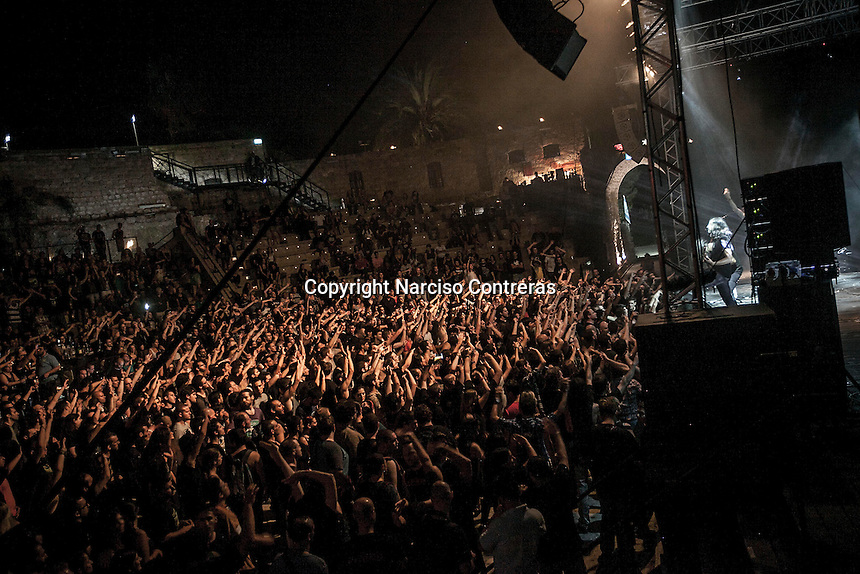 August 27, 2014 - Binyamina, Haifa District, Israel: The musicians at Orphaned Land heavy metal band, perform a concert in Binyamina Amphitheatre at north of Israel. Orphaned Land is a music band founded by Jewish and Arabian musicians who combine ethnic music with rock metal as they recite verses in Hebrew and Arabic from the sacred Quram and Tora Scriptures. (Narciso Contreras/Polaris)