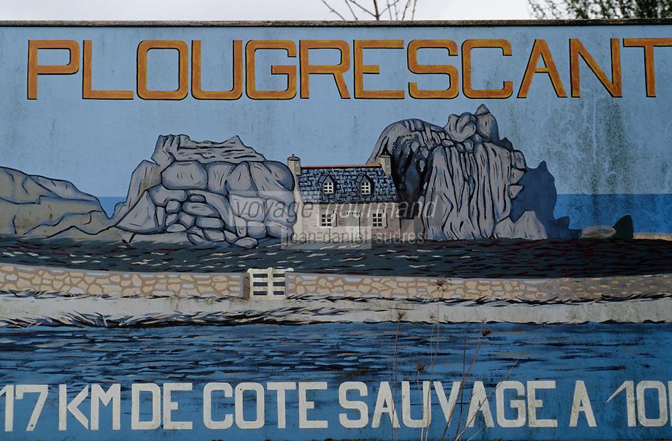 Europe/France/Bretagne/22/Côtes d'Armor/Circuit de la Côte des Ajoncs/Plougrescant: Affiche sur la côte sauvage - y figure la maison entre les rochers sur îlot au gouffre de Castel Meur à Plougrecant