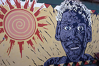 Afro-caribbean mural in downtown Belize City, Belize