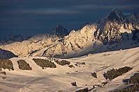 Europe/France/Rhone-Alpes/74/Haute-Savoie/Megève:  le domaine skiable vu depuis le téléphérique de Rochebrune
