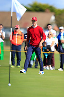 Alex Smalley (USA) on the 1st green during the singles matches at the Walker Cup, Royal Liverpool Golf Club, Hoylake, Cheshire, England. 07/09/2019.<br /> Picture Fran Caffrey / Golffile.ie<br /> <br /> All photo usage must carry mandatory copyright credit (© Golffile | Fran Caffrey)