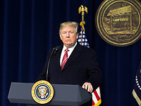 United States President Donald J. Trump makes remarks to the media at Camp David, the presidential retreat near Thurmont, Maryland after holding meetings with staff, members of his Cabinet and Republican members of Congress to discuss the Republican legislative agenda for 2018 on January 6, 2018. <br /> CAP/MPI/RS<br /> &copy;RS/MPI/Capital Pictures
