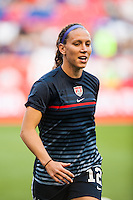 United States (USA) midfielder Lauren Cheney (12) during warmups. The women's national team of the United States defeated the Korea Republic 5-0 during an international friendly at Red Bull Arena in Harrison, NJ, on June 20, 2013.