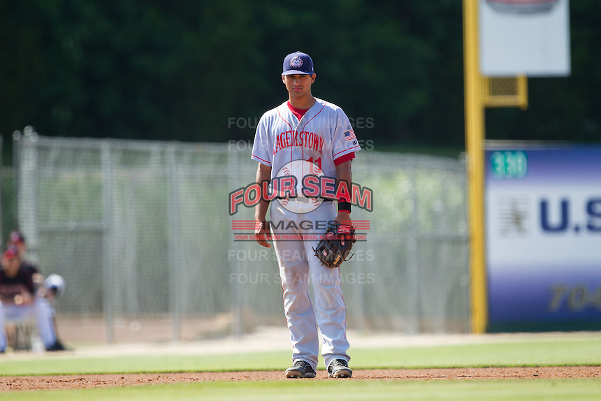 Hagerstown Suns third baseman Drew Ward (11) on defense against the Kannapolis Intimidators at CMC-Northeast Stadium on June 1, 2014 in Kannapolis, North Carolina.  The Intimidators defeated the Suns 5-1 in game one of a double-header.  (Brian Westerholt/Four Seam Images)