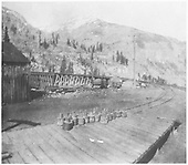 Photo from RGS Ophir depot platform looking at bridge 45-A.  Note gold ingots.<br /> RGS  Ophir Loop, CO  ca 1900