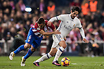 Isco of Real Madrid fights for the ball with Koke of Atletico de Madrid during their La Liga match between Atletico de Madrid and Real Madrid at the Vicente Calderón Stadium on 19 November 2016 in Madrid, Spain. Photo by Diego Gonzalez Souto / Power Sport Images