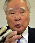 May 9, 2013, Tokyo, Japan - Chairman Osamu Suzuki of Suzuki Motor Corp. announces fourth quarter earnings for the year ended March 2013 during a news conference in Tokyo on Thursday, May 9, 2013. Helped by record vehicle sales at home and in Asia, Japan's No. 4 automaker Suzuki booked a record 80.4 billion yen in net profit, up 49.2 percent year-on-year.  (Photo by Natsuki Sakai/AFLO)