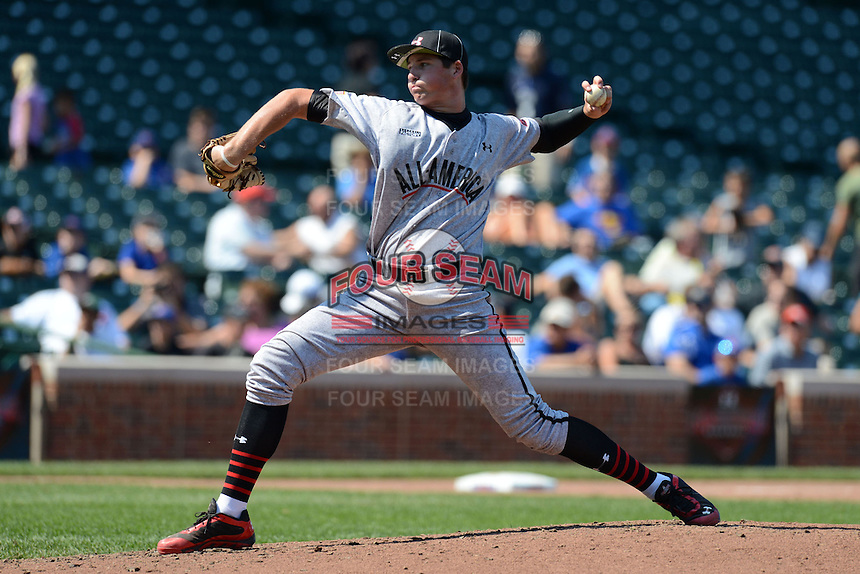 Pitcher / First Baseman Sam Hentges (24) of Mounds View High School in Shoreview, Minnesota during the Under Armour All-American Game on August 24, 2013 at Wrigley Field in Chicago, Illinois.  (Mike Janes/Four Seam Images)
