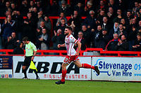 Danny Newton of Stevenage scores the first goal for his team and celebrates during Stevenage vs Notts County, Sky Bet EFL League 2 Football at the Lamex Stadium on 11th November 2017