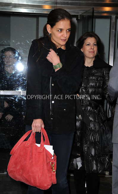 WWW.ACEPIXS.COM ************....January 13 2012, New York City....Actress Katie Holmes leaves a building in midtown on January 13 2012 in New York City....Please byline: CURTIS MEANS - ACE PICTURES.. *** ***  ..Ace Pictures, Inc:  ..tel: (646) 769 0430..e-mail: info@acepixs.com..web: http://www.acepixs.com