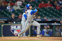 Trey Dawson (2) of the Kentucky Wildcats follows through on his swing against the Houston Cougars in game two of the 2018 Shriners Hospitals for Children College Classic at Minute Maid Park on March 2, 2018 in Houston, Texas.  The Wildcats defeated the Cougars 14-2 in 7 innings.   (Brian Westerholt/Four Seam Images)