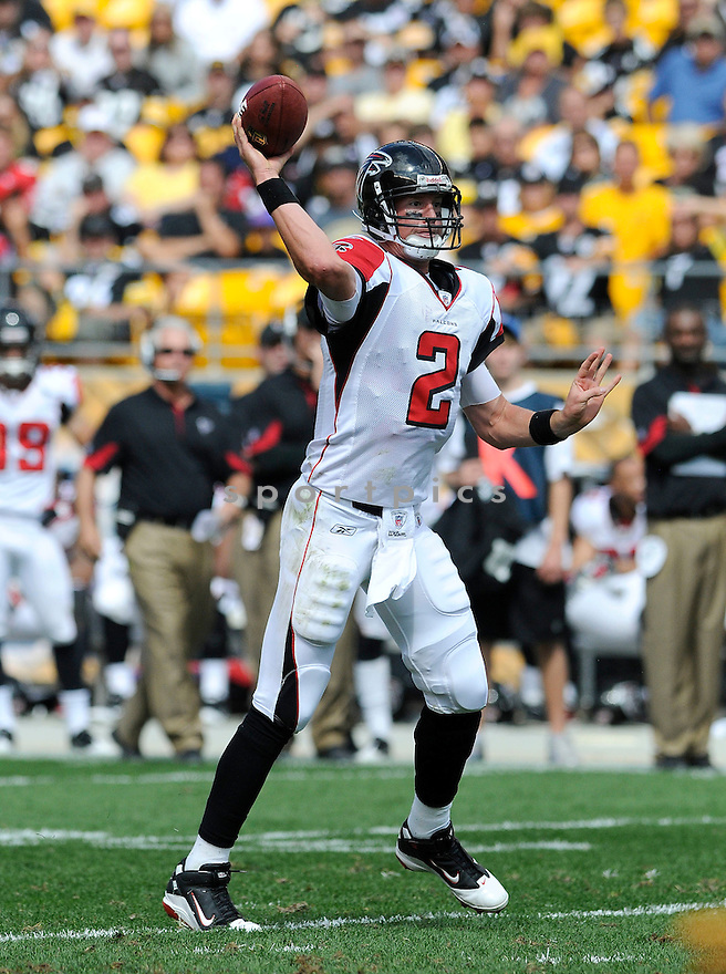 MATT RYAN, of the Atlanta Falcons, in action during the Falcons game against the Pittsburgh Steelers on September 12, 2010 in Pittsburgh, Pennsylvania...Steelers won the game 15-9..