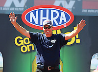 Apr 12, 2015; Las Vegas, NV, USA; NHRA pro stock driver Jimmy Alund during the Summitracing.com Nationals at The Strip at Las Vegas Motor Speedway. Mandatory Credit: Mark J. Rebilas-