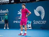 STAN WAWRINKA (SUI)<br /> <br /> BRISBANE INTERNATIONAL, PAT RAFTER ARENA, BRISBANE TENNIS CENTRE, BRISBANE, QUEENSLAND, AUSTRALIA, ATP, WTA, Hard Court, Outside, Men's tennis, Women's tennis, Men's singles, women's singles, men's doubles, women's doubles.<br /> <br /> &copy; TENNIS PHOTO NETWORK
