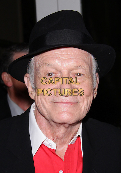 HUGH M. HEFNER .20TH Annual Literary Awards Festival held at the Beverly Hills Hotel, Beverly Hills, CA, USA, .17th November 2010..portrait headshot black hat red white .CAP/ADM/TC.©T. Conrad/AdMedia/Capital Pictures.